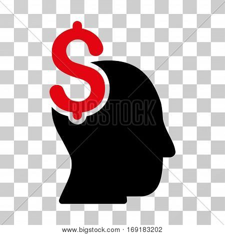 Commercial Intellect icon. Vector illustration style is flat iconic bicolor symbol intensive red and black colors transparent background. Designed for web and software interfaces.