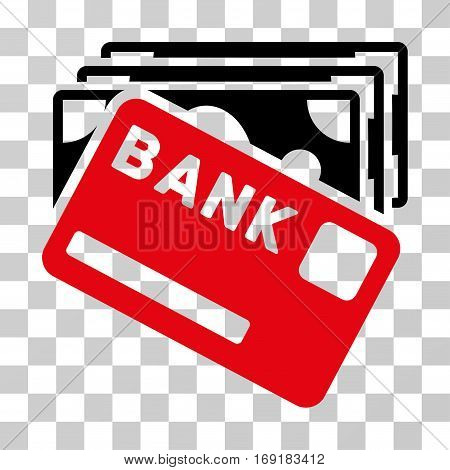 Credit Money icon. Vector illustration style is flat iconic bicolor symbol intensive red and black colors transparent background. Designed for web and software interfaces.