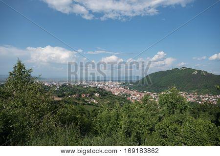 Beautiful panoramic view of the city Brasov from Transylvania