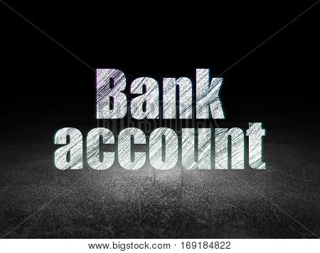 Money concept: Glowing text Bank Account in grunge dark room with Dirty Floor, black background