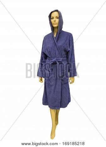 Female mannequin wearing blue bathrobe with a hood. Isolated on white background.