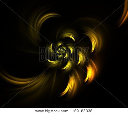 Yellow flower. Abstract background, fractal image syurreal. Background from multi-colored fractal structure. Illustration Space Geometry