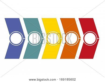 Template Timeline Infographic from colour arrows 5 position on white background