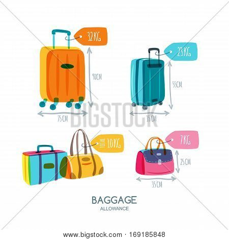 Baggage allowance isolated vector icons. Multicolor luggage suitcase bags with tags and labels. Checked in baggage and hand luggage for traveling by aircraft. Travel and tourism concept. poster