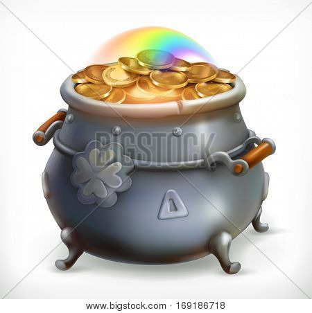 Patrick's Day treasure. Pot of gold coins. 3d vector icon