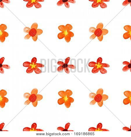 Red childlike watercolor flowers -- seamless floral pattern