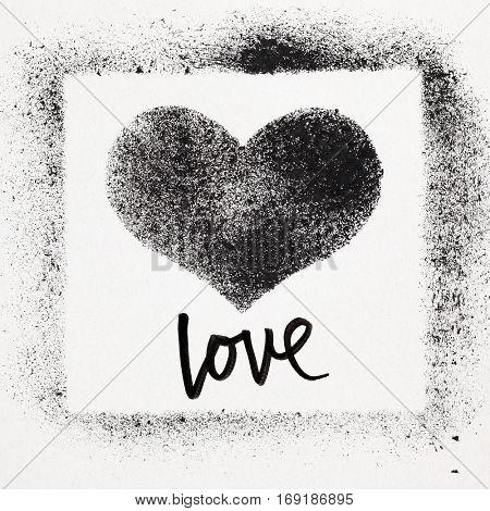 Love - Grunge stenciled heart. Street art style Valentines card