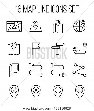 Set of map icons in modern thin line style. High quality black outline route symbols for web site design and mobile apps. Simple map pictograms on a white background.