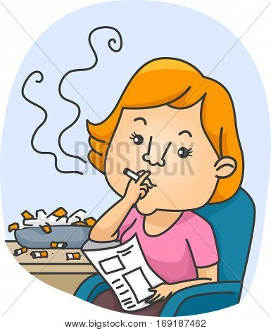 Illustration of a Female Chain Smoker Puffing a Cigarette Next to an Ashtray Overflowing with Cigarette Butts