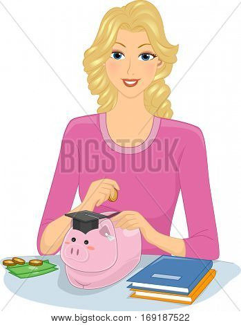 Illustration of a Girl Dropping Coins Into a Piggy Bank for Her College Education