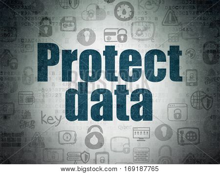 Privacy concept: Painted blue text Protect Data on Digital Data Paper background with   Hand Drawn Security Icons