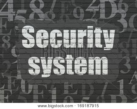 Privacy concept: Painted white text Security System on Black Brick wall background with  Hexadecimal Code