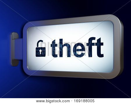 Protection concept: Theft and Opened Padlock on advertising billboard background, 3D rendering