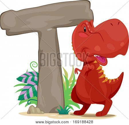 Typography Illustration Featuring a Red Tyrannosaurus Rex Standing Beside a Giant Letter T