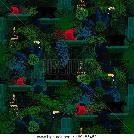 Rainforest wild animals and plants seamless vector pattern. Panther and monkey in the dark jungles.