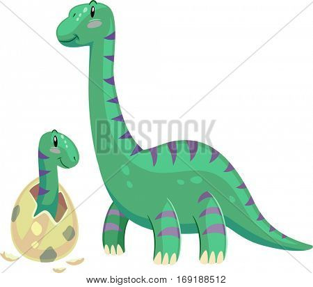 Adorable Animal Illustration Featuring a Brontosaurus Mom Looking Affectionately at its Hatching Baby