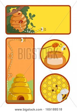 Printable Illustration Featuring Blank Labels Decorated with Beehives, Honey, and Honeybees