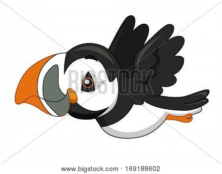 Adorable Illustration of a Flying Puffin with Colorful Markings on its Beak