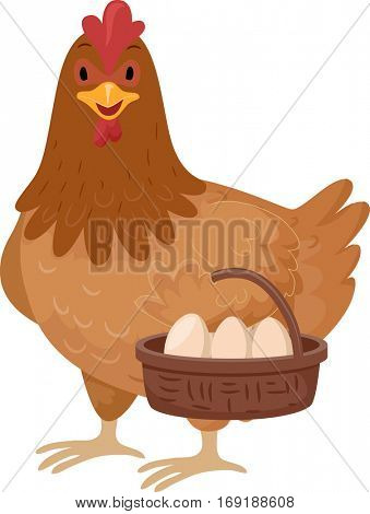 Animal Illustration of a Cute Brown Chicken Carrying a Basket Full of Eggs