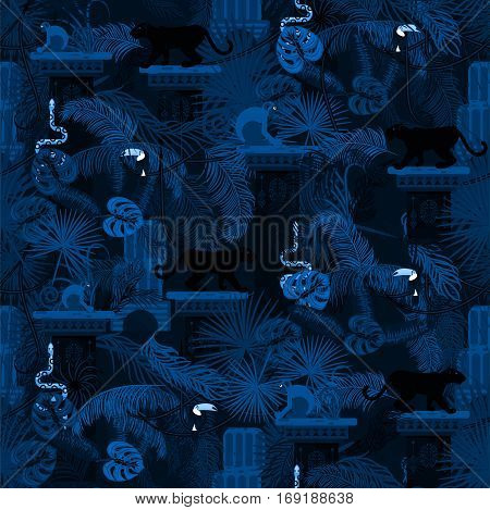 Blue night rainforest wild animals and plants seamless pattern. Panther and monkey in the dark jungles.