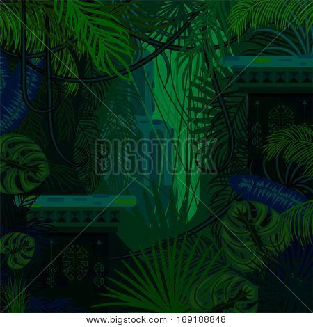 Dense foliage jungle nature background. Dark green and blue palm leaves, tree branches and mayan ruins vector.