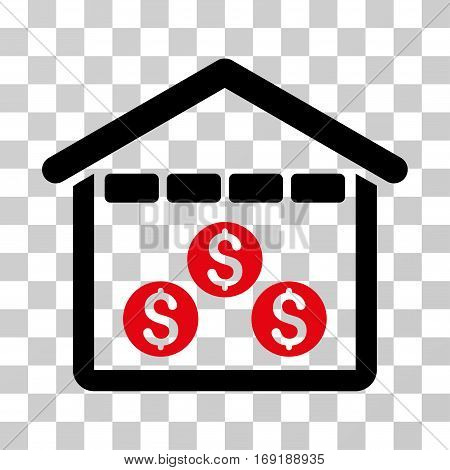 Money Depository icon. Vector illustration style is flat iconic bicolor symbol intensive red and black colors transparent background. Designed for web and software interfaces.