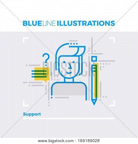 Support Blue Line Illustration.