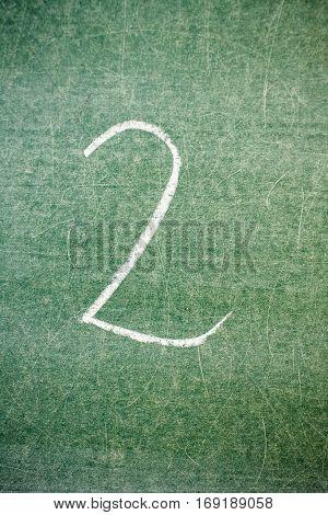 Handwritten message on a chalkboard:  two, 2