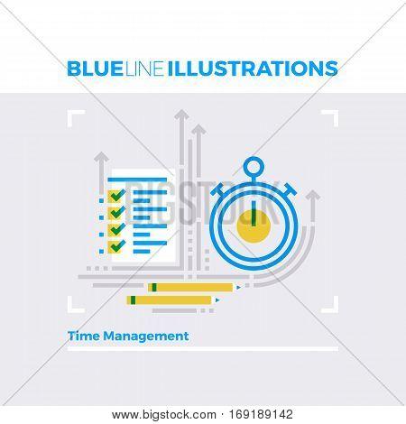 Time Management Blue Line Illustration.