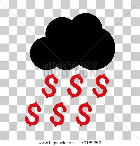 Money Rain icon. Vector illustration style is flat iconic bicolor symbol intensive red and black colors transparent background. Designed for web and software interfaces.
