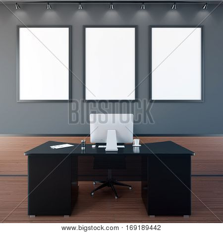 Office Interior With Blank Frames