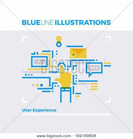 User Experience Blue Line Illustration.
