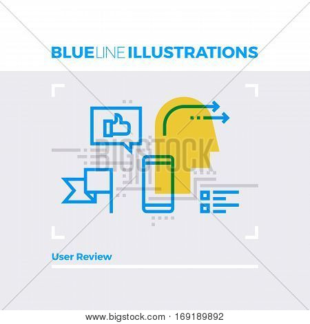 User Review Blue Line Illustration.