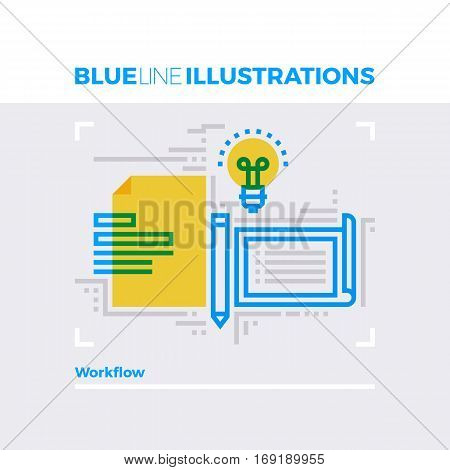 Workflow Blue Line Illustration.