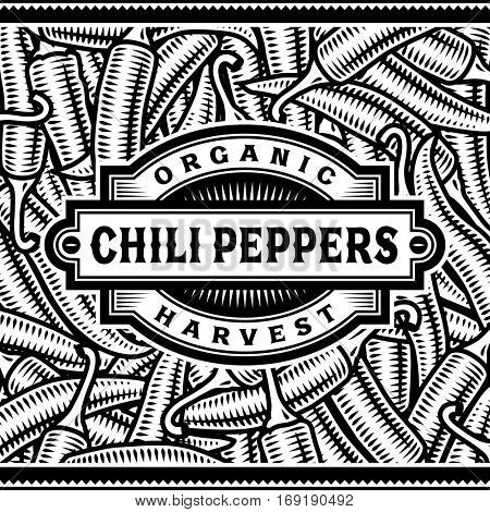 Retro Chili Pepper Harvest Label Black And White. Editable vector illustration in woodcut style with clipping mask.
