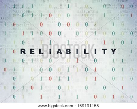 Business concept: Painted black text Reliability on Digital Data Paper background with Binary Code