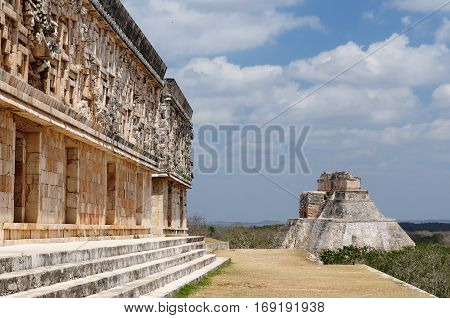 Uxmal Maya ruins is the archaeological site of greatest relevance in the Puuc Route. Renowned for the beautiful friezes of its buildings facades created with small stones perfectly polished Mexico