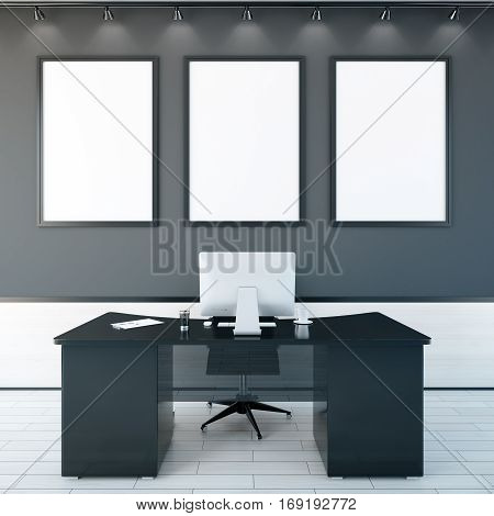 Office Interior With Frames