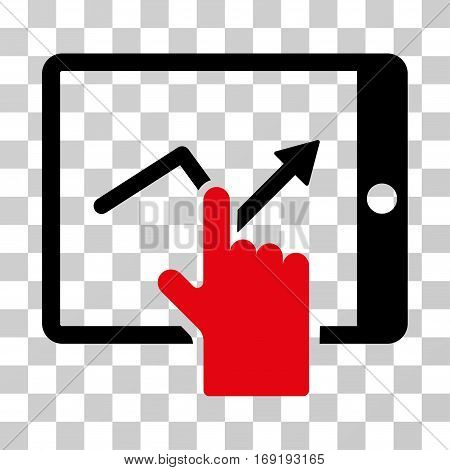 Tap Trend On PDA icon. Vector illustration style is flat iconic bicolor symbol intensive red and black colors transparent background. Designed for web and software interfaces.