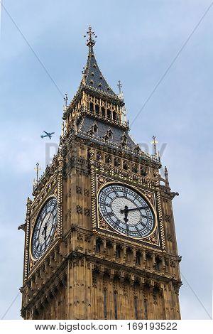 Big Ben, close-up of the popular London landmark, the clock tower known as Big Ben