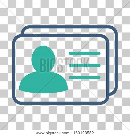 Account Cards icon. Vector illustration style is flat iconic bicolor symbol cobalt and cyan colors transparent background. Designed for web and software interfaces.