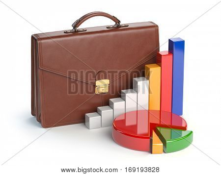 Stock market portfolio concept. Briefcase and graph isolated on white background. 3d illustration