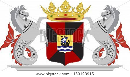 Coat of arms of Almere is a planned city and municipality in the province of Flevoland Netherlands bordering Lelystad and Zeewolde. Vector illustration