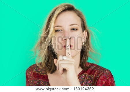 Caucasian Lady Hand Gesture Shut Up
