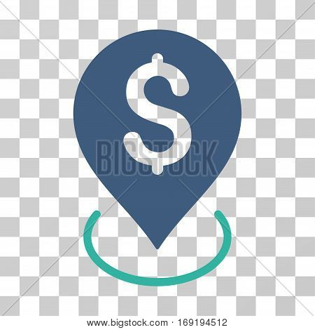 Bank Placement icon. Vector illustration style is flat iconic bicolor symbol cobalt and cyan colors transparent background. Designed for web and software interfaces.