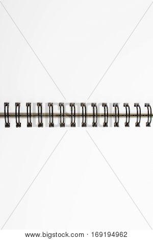 white workbook background open ring binder, copy space