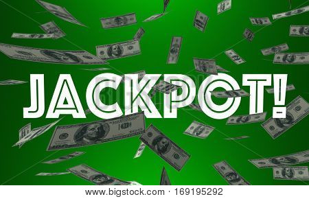 Jackpot Money Falling Winnings Cash Payout Contest Prize 3d Illustration