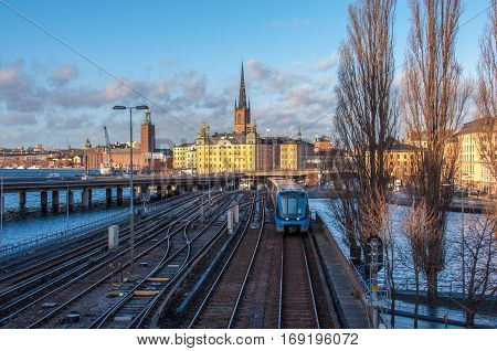 View of a subway train coming from Gamla Stan, Stockholm, Sweden