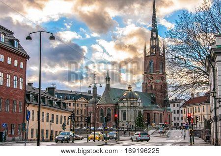 Riddarholmen Church in the city of Stockholm, Sweden