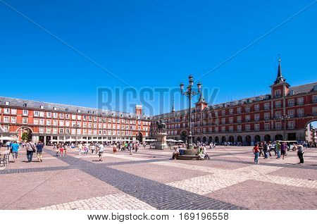 Madrid, Spain - June 3, 2013: Plaza Mayor, the main square in the city of Madrid
